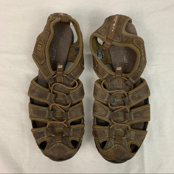 Sketchers Brown Slip On Sandals, Size 10